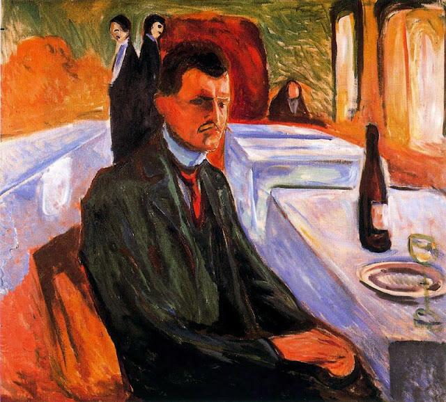 Эдвард Мунк - Автопортрет с бутылкой вина. 1906