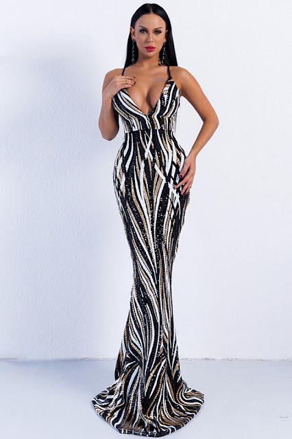 long sequins mermaid evening dress