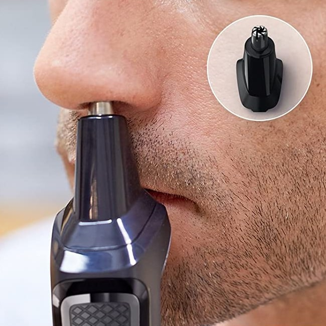 Nose haircut using this Phillips trimmer.