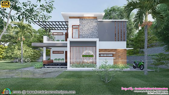 Contemporary style flat roof front elevation design