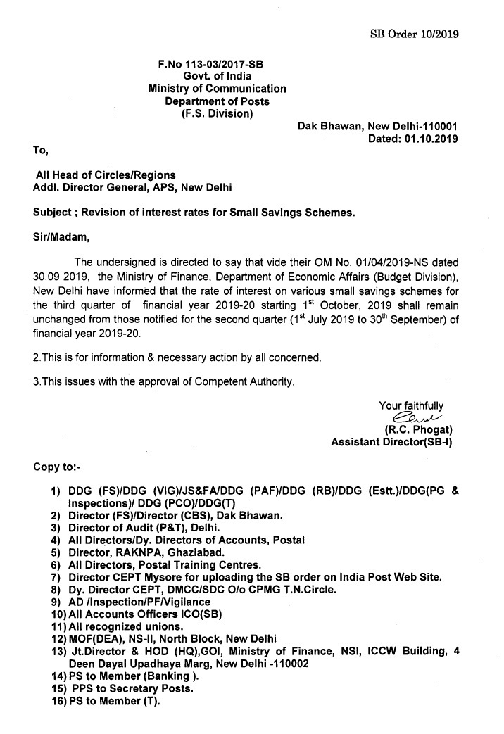 Revision of interest rates for Small Saving Schemes in India Post (SB Order 10/2019)