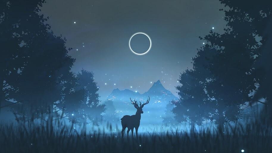 Minimalist, Night, Scenery, Forest, Deer, Silhouette, 4K, #4.1030