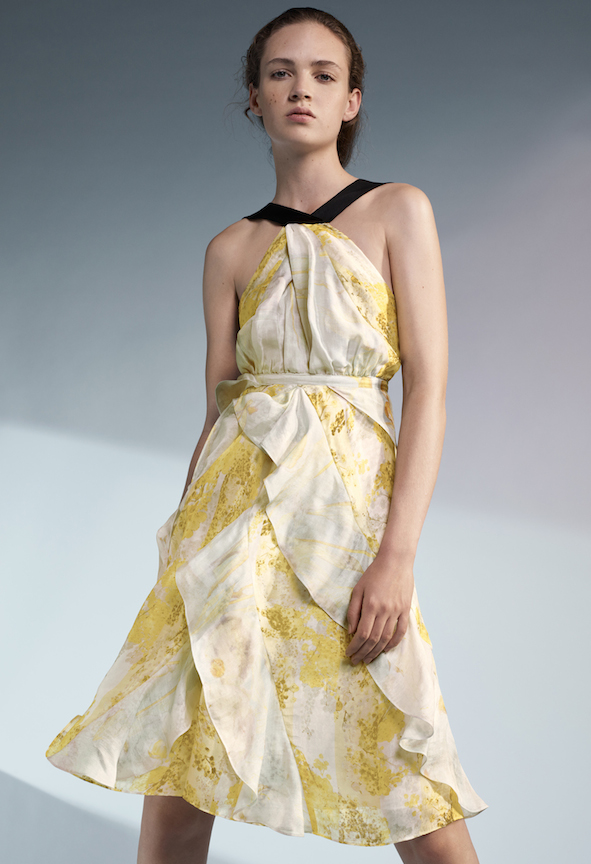 Organic Silk Dress with Dream like prints of mimosa