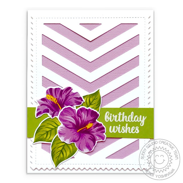 Sunny Studio Stamps: Hawaiian Hibiscus Lilac Layered Flowers Birthday Card (using Frilly Frames Chevron Dies)