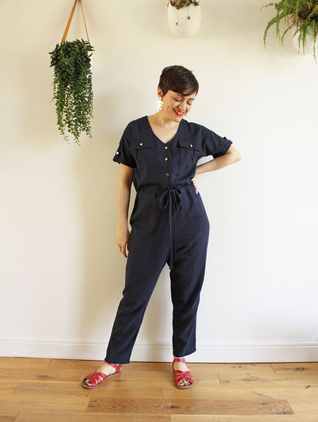 Navy nautical-style Alexa jumpsuit