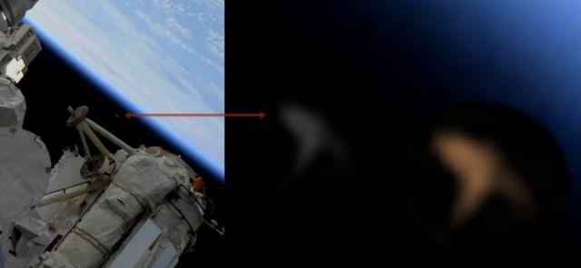 Mysterious Chevron shaped UFO passes ISS captured on live feed cam  Chevron-ufo-iss-live-feed-nasa