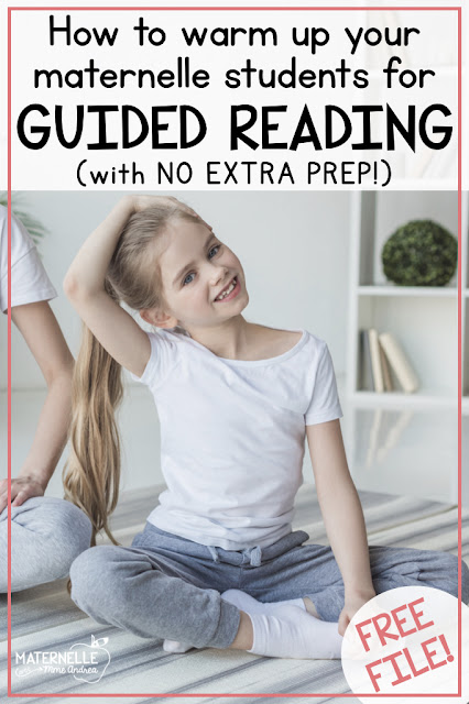 Curious about how to warm up your maternelle students at the beginning of your guided reading lessons? Check out these NO PREP games and ideas that will help your students practice four essential pre-reading skills! | Lecture guidée