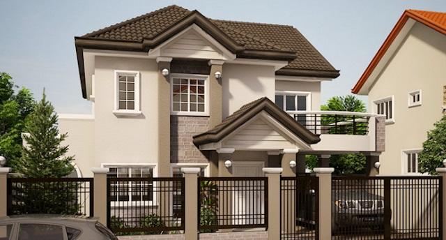 Hermosa casa elegante con balcón plano de casa