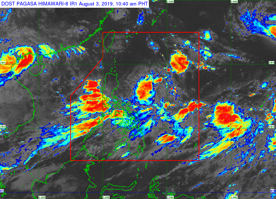 Satellite image of Low Pressure Area (LPA) and Southwest Monsoon as of 10:40 am, August 3