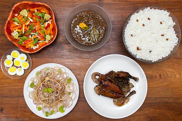 Cuisine, riz, blanc, poulet, citron, oignon, yassa, plat, sénégalais, crudités, décoration, exotique, repas, LEUKSENEGAL, Dakar-Sénégal, Afrique