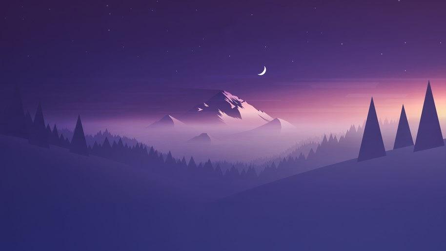 Snow Mountain Night Landscape Minimalist Digital Art 4k Wallpaper 50