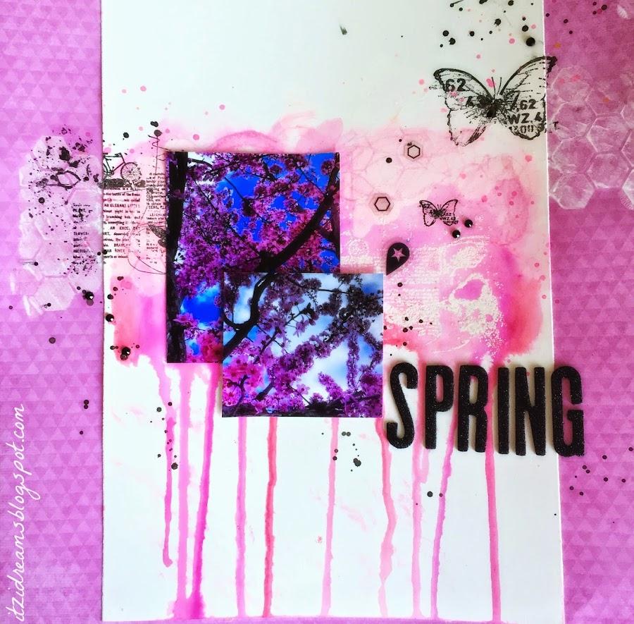 watercolor, scrap, scrapbooking, mix media, neocolors, gelatos, twinkling, heidi swapp, finnabair, sellos, spring