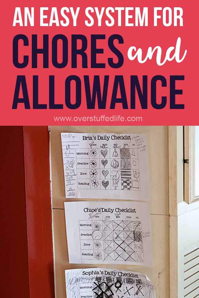 This is a simple chore system that pays allowance to your kids. It is checklist based, motivates the kids, and actually works!