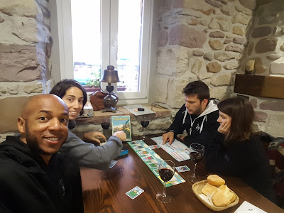 Playing board games in a cozy restaurant
