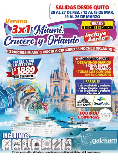 Verano 3 x 1 Miami + Crucero + Orlando