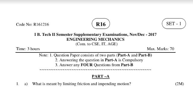 Engineering Mechanics r16 b-tech jntuk 1-2 old model question papers nov-dec 2017