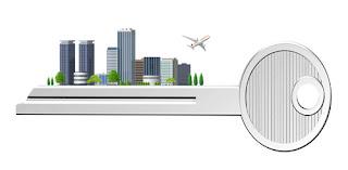 鍵と都市(ビル)を構成したイラスト