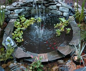 Desain kolam ikan dari batu kali dengan hiasan minimalis
