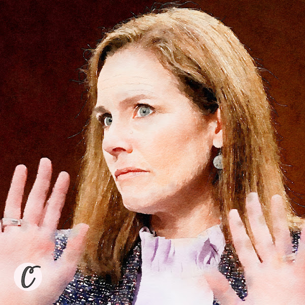 Judge Amy Coney Barrett reacts during the third day of her Senate confirmation hearing