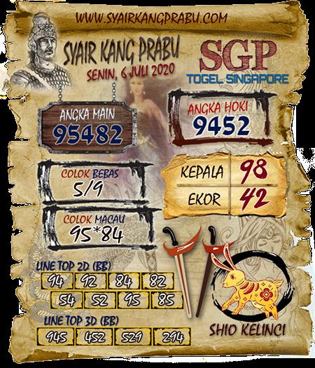 Prediksi Syair Kang Prabu SGP Singapura Senin 06 Juli 2020