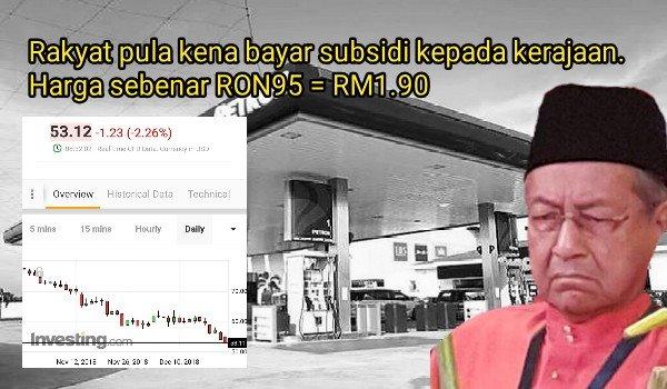Rakyat pula beri subsidi pada kerajaan. Harga sebenar RON95 = RM1.90