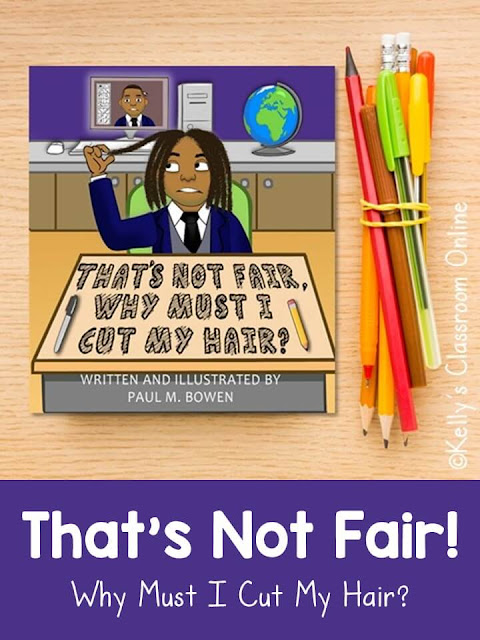 Language arts lesson for That's Not Fair! Why Must I Cut My Hair? by Paul M. Bowen. Should students be allowed to wear natural hair in school? Reader response activity.