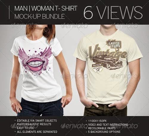 Download T-Shirt Mockup Terbaru Gratis - MAN WOMAN T-SHIRT MOCK-UP BUNDLE BY GRAPHICRIVER