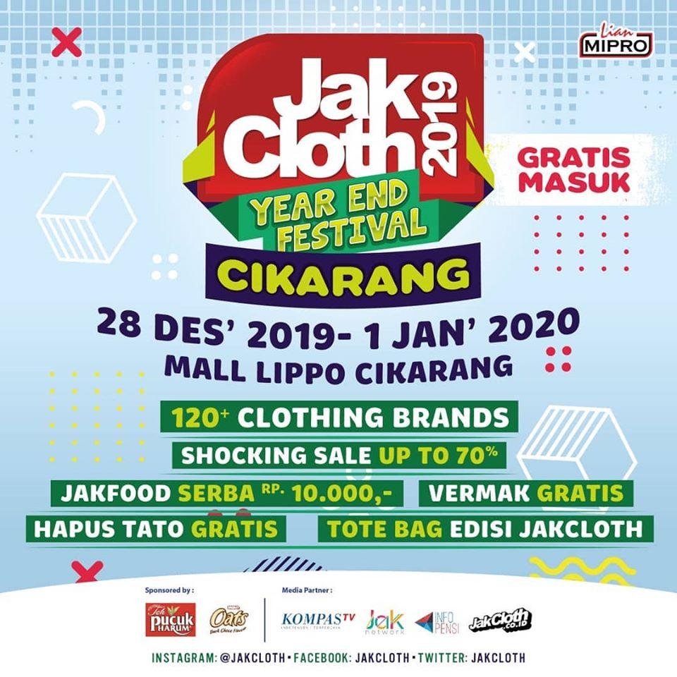 Banyak Gratis & Diskon di JakCloth Year End Festival Cikarang 2019
