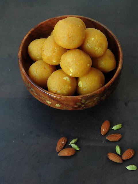 Almond besan Laddoo, Gluten free Besan Badam Laddoo