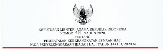 tentang Pembatalan Keberangkatan Jemaah Haji  Tahun  KMA NOMOR 494 TAHUN 2020 TENTANG PEMBATALAN KEBERANGKATAN JEMAAH HAJI TAHUN 2020