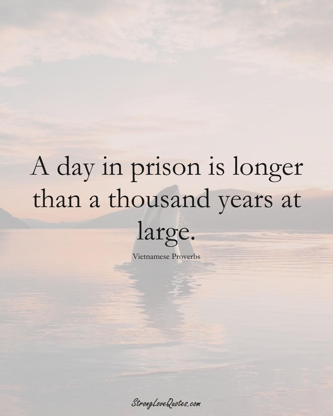 A day in prison is longer than a thousand years at large. (Vietnamese Sayings);  #AsianSayings