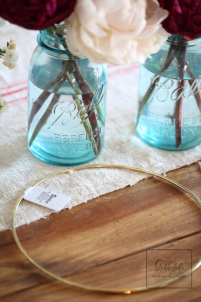 peony wreath diy embroidery hoop