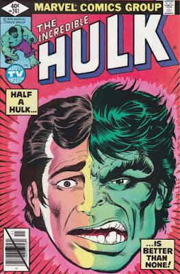 Incredible Hulk #241, half Bruce Banner, half Hulk
