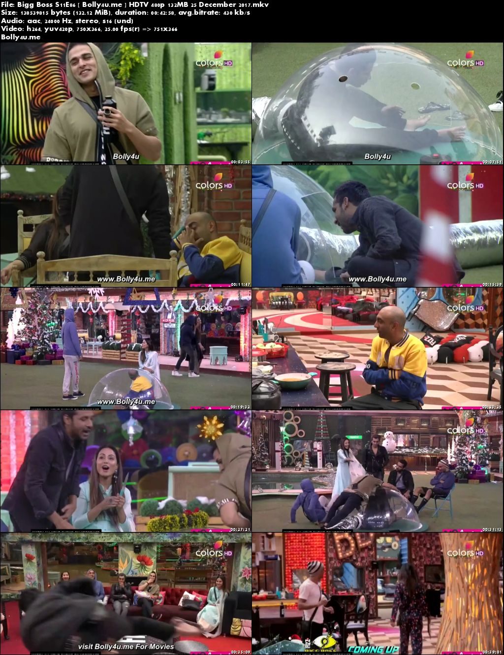 Bigg Boss S11E86 HDTV 480p 130MB 25 Dec 2017 Download