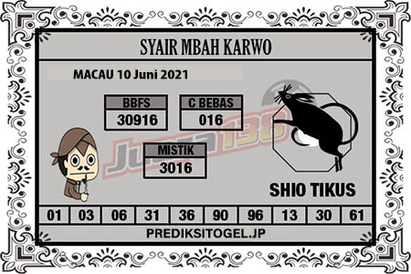 Syair Mbah Karwo Togel Macau Kamis 10 Juni 2021