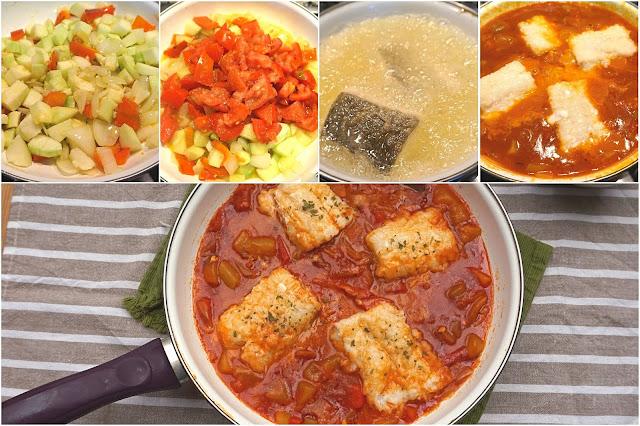 Bacalao con tomate, receta casera.
