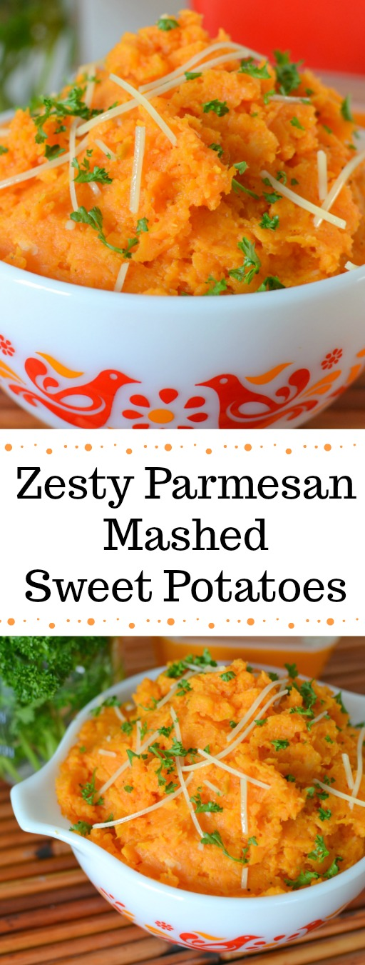 Zesty Parmesan Mashed Sweet Potatoes Recipe from Hot Eats and Cool Reads! These mashed sweet potatoes are a lovely fall treat! Make them for a side at dinner or something new for Thanksgiving!