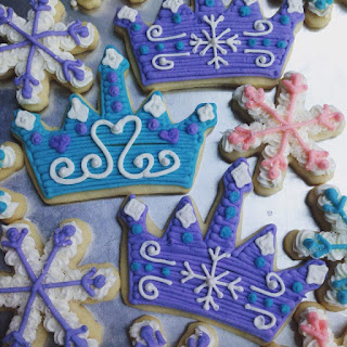 Frozen Themed Crown and Snowflake Cookies