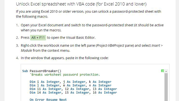 unlock Excel with VBA mode