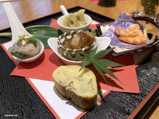 Zensai: Appetisers of Raw Seafood and Steamed Japanese Spring Roll