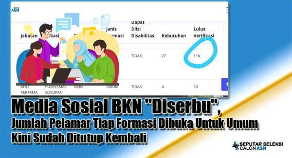 """Media Sosial BKN """"Diserbu"""", Jumlah Pelamar Tiap Formasi Dibuka Untuk Umum Kini Sudah Ditutup Kembali"""