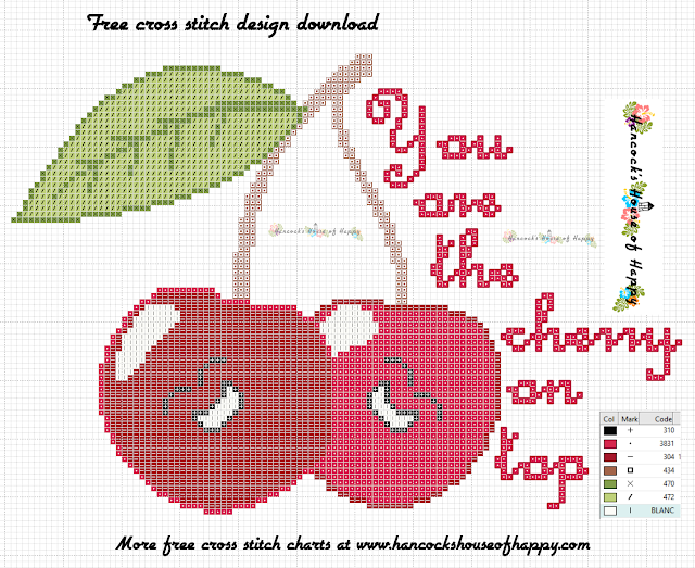 Cherry on Top! Free Cherry Valentine Fruity Cross Stitch Design to Download