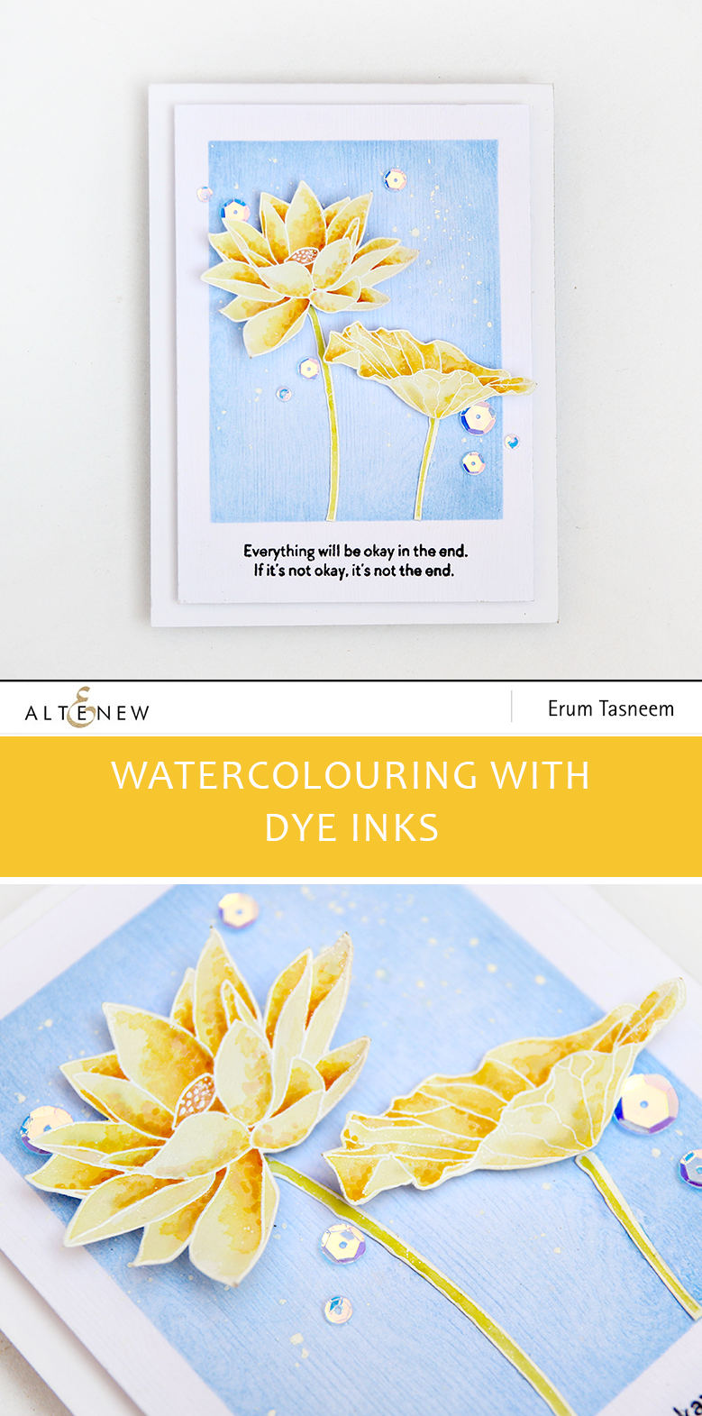 Altenew Lotus Stamp Set watercoloured with Crisp Dye Inks | Erum Tasneem | @pr0digy0