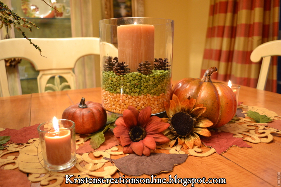 fall centerpieces for dining room table | Kristen's Creations: The Dining Room Table Dressed For ...