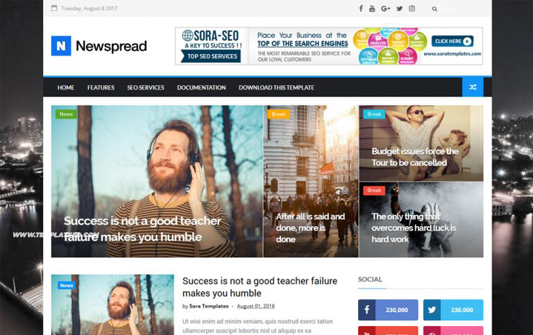 New Spread Responsive Blogger Template