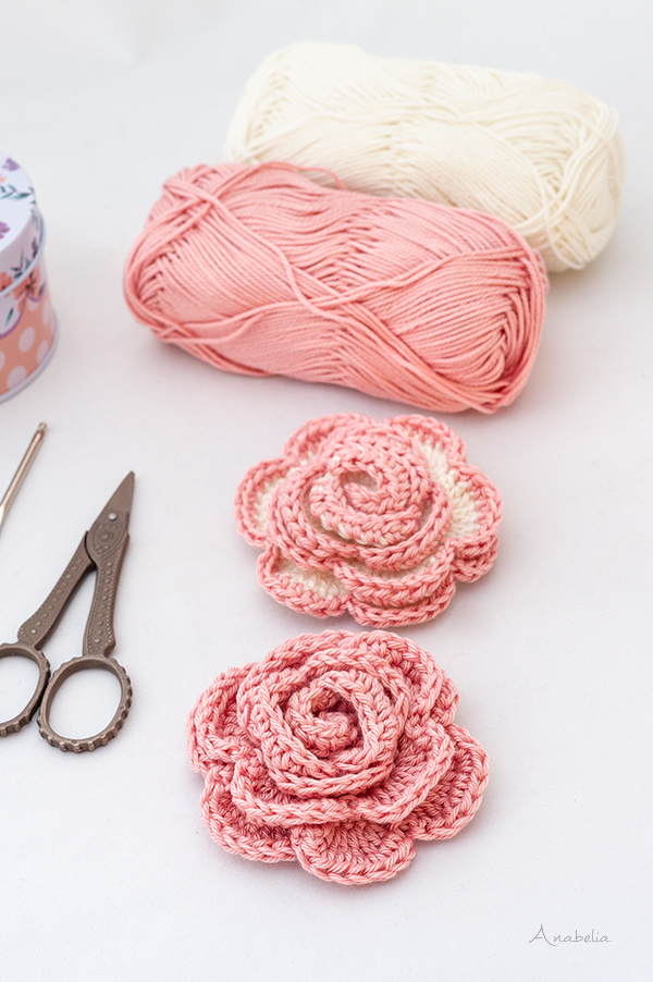 Crochet Rose Brooches free pattern, Anabelia Craft Design