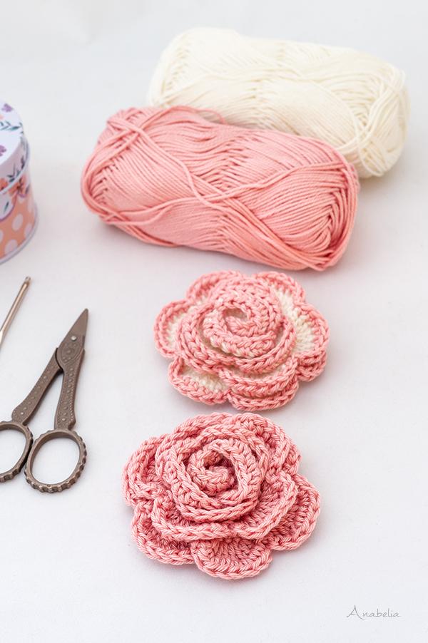 Crochet Rose Brooches free pattern, Anabelia Craft Design