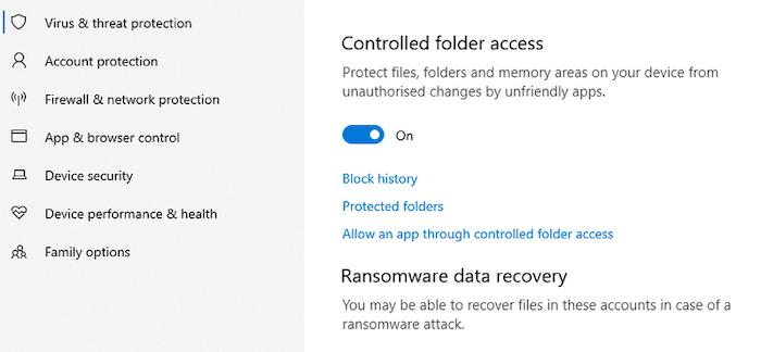 defender controlled folder access