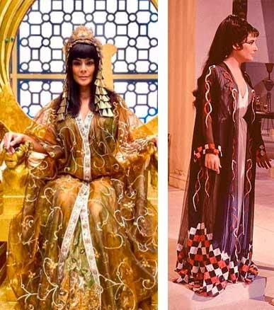 rainha do egito em genesis e ao lado liz taylor como cleopatra