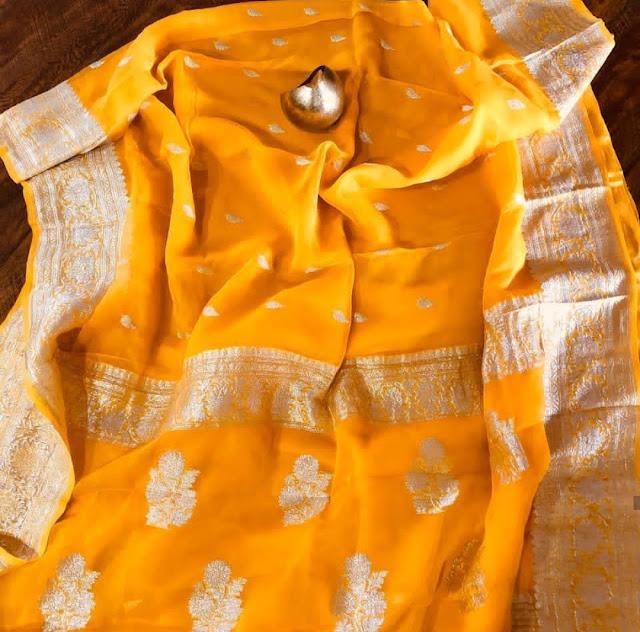 Pure Georgette Chiffon khaddi silver buti orange colour sarees